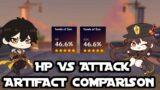 Hutao and Zhongli: HP vs Attack Artifact Comparison   Genshin Impact