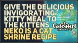 Give the Delicious Invigorating Kitty Meal to the kittens Genshin Impact
